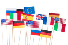Flags of USA and European Union member-states Stock Images