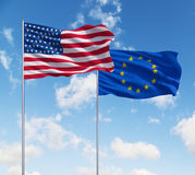 Flags of usa and European Union Royalty Free Stock Image