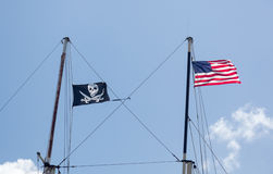 Flags of USA and pirates in St Thomas Stock Image