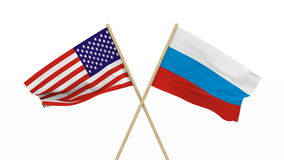 Flags USA and Russia. Isolated 3D render.  stock video