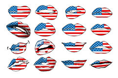 Flags of the USA in sensuality lips set women vector. america Royalty Free Stock Photography