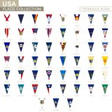 Flags of USA states, all State flags. Triangle icon royalty free illustration