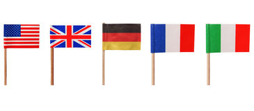 Flags of USA UK Germany France Italy Royalty Free Stock Photography