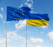 Flags of usa and Ukraine Royalty Free Stock Images