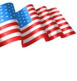 Flags USA Waving Wind and Ribbon Royalty Free Stock Photos