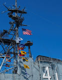 Flags of USS Midway Aircraft Carrier, San Diego, California Stock Image