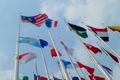 Flags of various colors Stock Image