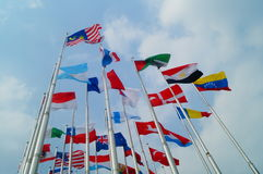 Flags of various colors Royalty Free Stock Image