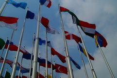 Flags of various colors Royalty Free Stock Photo