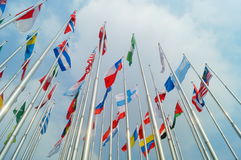 Flags of various colors Royalty Free Stock Photography