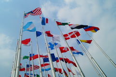 Flags of various colors Stock Photos