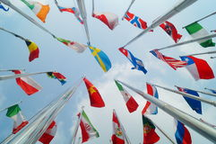 Flags of various colors Royalty Free Stock Photos