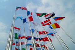 Flags of various colors Stock Photography