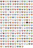 FLAGS OF THE WORLD. Flags of various countries round icon Royalty Free Stock Image