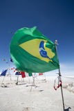Flags from various countries in the Salar of Uyuni, Bolivia Stock Image