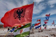 Flags of various nations at Salar de Uyuni  Salt Lake, Bolivia Royalty Free Stock Photos