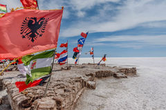 Flags of various nations at Salar de Uyuni  Salt Lake, Bolivia Stock Photography