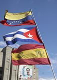 Flags of Venezuela, Cuba and Venezuelan popular unit party UPV Stock Photos