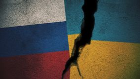 Russia vs Ukraine Flags on Cracked Wall. Flags `versus` concept series artwork Stock Image