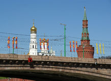 Flags for Victory Day near the Red Square, Moscow, Russia Stock Photos