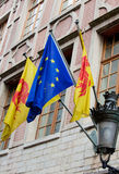 Flags of Wallonia and Europe. Flags of Wallonia region of Belgium and Europe in Brussels Stock Photography