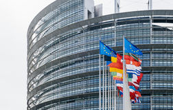 Flags waving in front of the European Parliament Strasbourg