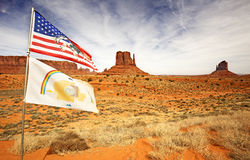 Flags waving in monument valley royalty free stock photography