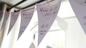Flags at the wedding. Wedding decorations indoor stock footage