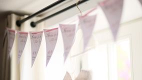 Flags at the wedding. Wedding decorations indoor. Flags at the wedding. Wedding decorations stock video footage
