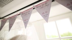 Flags at the wedding. Wedding decorations indoor stock video footage