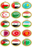 Flags of the Western and Central Asia. Set of icons. Flags of the Western and Central Asia Stock Image