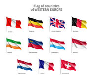 Flags of Western Europe countries. Royalty Free Stock Images