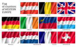 Flags of Western Europe countries. Stock Photography
