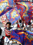 Flags in the wind. EXPLOSIVERS DURING A TRADITIONAL ITALIAN FESTIVAL stock image