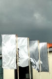 Flags on the wind II. Dramatic sky and four flags Stock Image