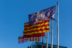 Flags in the wind in Spain Royalty Free Stock Image