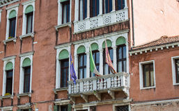 Flags and Windows on Venice Hotel Stock Photography