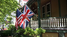 Flags on the wooden veranda Royalty Free Stock Images