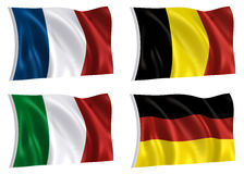 Flags of The World 02. Flags of France Germany Italy Belgium with clipping paths stock illustration