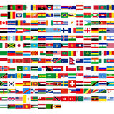 Flags of the world. Including all states from all continents (Europe, America, Asia, Africa, Oceania vector illustration