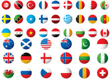 Flags of the world. Circular flags of the world on a white background Royalty Free Stock Photo