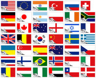 Flags of the world. Set (stickers collection stock illustration