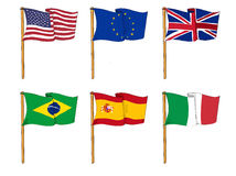 Flags of the world. An illustration showing six flags on white background Royalty Free Stock Images