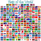 Flags of the world vector. Flags of the world complete collection against white background, abstract vector art illustration Stock Photos
