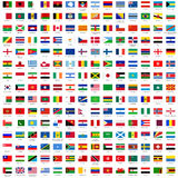 Flags of the world. Alphabetically sorted flags of the world (3x2) with official RGB coloring and detailed emblems