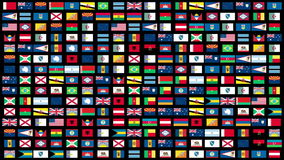 Flags of the World animation stock footage