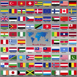 Flags from world. Asia  America  England  Atlas  Africa  East  Geography  Badge  India  Canada Stock Photos