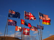Flags of the World. Blowing in the wind in Mongolia royalty free stock photos