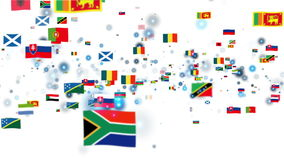 Flags of the World, camera fly through stock footage