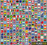 220 Flags of the world, circular Royalty Free Stock Images